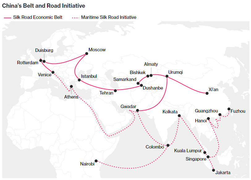 China's Belt and Road Initiative. Silk Road Economic Belt and Maritime Silk Road Initiative.